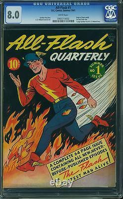 All Flash #1 CGC 8.0 DC 1941 WHITE pages! Origin! Golden Age Classic! D6 962 cm