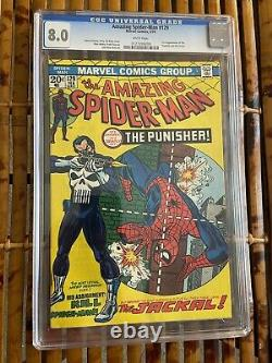 Amazing Spider-Man 129 CGC 8.0 White Pages! 1st Punisher! Sharp Copy