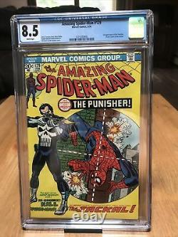 Amazing Spider-Man 129 CGC 8.5 WHITE PAGES 1st Punisher
