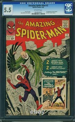 Amazing Spider-Man #2 CGC 5.5 1963 1st Vulture! RARE Off-White Pages! H3 931 cm
