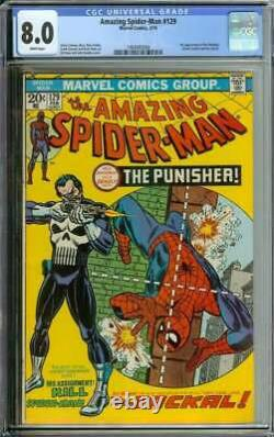 Amazing Spider-man #129 Cgc 8.0 White Pages // 1st Appearance Of Punisher