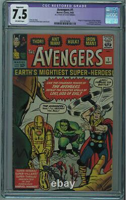 Avengers #1 Cgc Apparent 7.5 1st Avengers Off-white Pages 1963