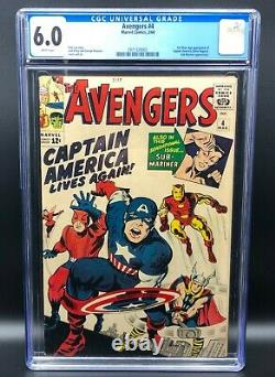 Avengers #4 CGC 6.0 WHITE PAGES (1st Silver Age Captain America and Bucky)