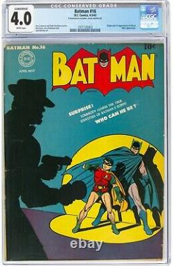 Batman #16 (DC, 1943) CGC 4.0 White pages. Origin and 1st appearance of Alfred
