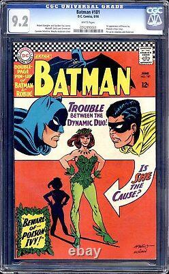 Batman #181 Cgc 9.2 White Pages 1st Appearance Of Poison Ivy