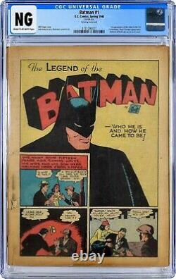 Batman # 1 1940 Golden Age Cgc Authenticated. Cream To Off-white Pages, Complete