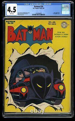 Batman #20 CGC VG+ 4.5 White Pages 1st Batmobile Cover