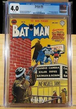 Batman 64 Cgc 4.0 White Pages 2nd Killer Moth 1951 Vicki Vale App Bob Kane Art