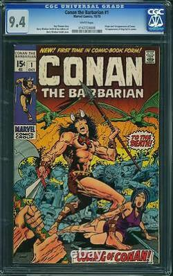 Conan the Barbarian #1 CGC 9.4 Marvel 1970 White Pages! Movie! 168 cm clean