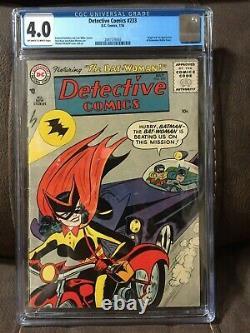 Detective Comics #233 CGC 4.0 OW to White Pages Batman Origin and 1st Batwoman