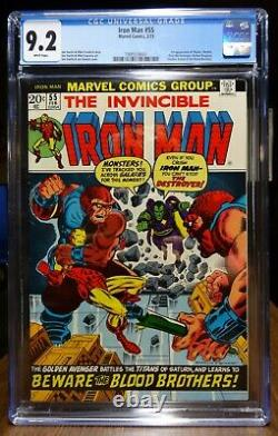 Dragonmiser Iron Man #55 9.2 First Appearance Thanos & Drax 1973 White Pages