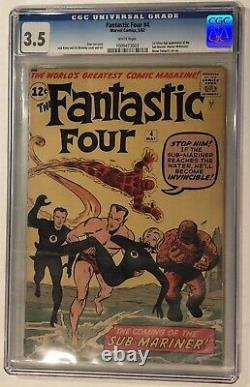 FANTASTIC FOUR #4 CGC 3.5 (Looks Nicer) White Pages 1st Silver Age Sub-Mariner
