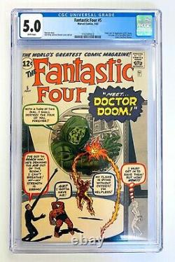 FANTASTIC FOUR #5 CGC 5.0 WHITE PAGES Silver Age 1ST APP DOCTOR DOOM