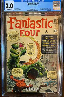 Fantastic Four 1 1st App Of 1st Marvel Team & Mole Man Off-white Pages Cgc 2.0