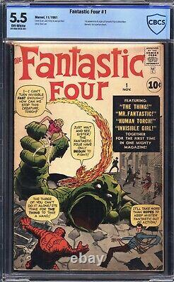 Fantastic Four #1 CBCS 5.5 not CGC Marvel 1961 (O/ White Pages, 1st app.)