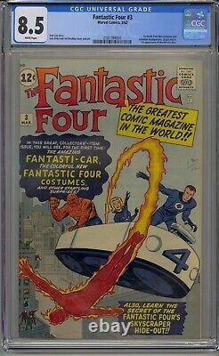 Fantastic Four #3 Cgc 8.5 Origin Retold Htf White Pages Beautiful