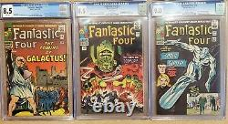 Fantastic Four #48 & #49 CGC 8.5 WHITE PAGES #50 CGC 9.0 Lot Galactus Surfer HOT