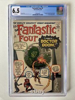 Fantastic Four #5 CGC 6.5 1st App Dr. Doom WHITE PAGES