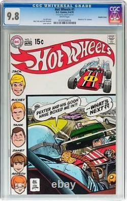 Hot Wheels #1 CGC 9.8 DC 1970 Double Cover! Rare! White Pages! TV Cartoon C12 cm