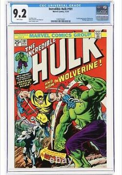 Hulk #181 CGC 9.2 1974 1st Wolverine! Key Bronze! White Pages