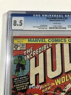 Hulk 181 cgc white pages 8.5