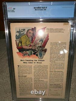 Hulk #1 CGC 3.0 Marvel 1962 WHITE pages! Key Silver Age! RARE! D4 102 cm cl b0