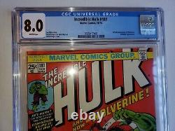 INCREDIBLE HULK #181 CGC 8.0 White Pages 1ST APPEARANCE OF WOLVERINE X-MEN