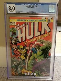 INCREDIBLE HULK 181 CGC 8.0 white pages 1ST FULL APP WOLVERINE blue universal