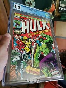 INCREDIBLE HULK 181 Wolverine Marvel 1974 with MVS CGC 8.5 VF+ WHITE PAGES! Wow