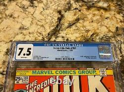 Incredible Hulk #181 Cgc 7.5 White Pages Unpressed 1st Wolverine Hot Invest Mcu
