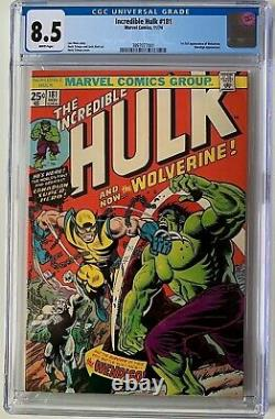 Incredible Hulk #181 Cgc 8.5 1st Full Wolverine Appearance 1974 White Pages