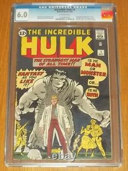 Incredible Hulk #1 Cgc 6.0 Marvel Comics Off White Pages May 1962 (sa)