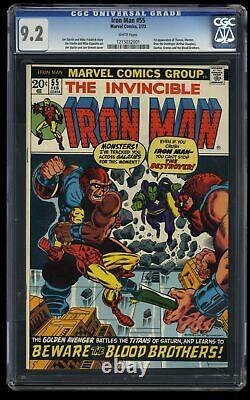 Iron Man #55 CGC NM- 9.2 White Pages 1st Thanos! Marvel Comics