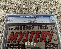 Journey Into Mystery #83 CGC 4.0 1962 Off-White to White Pages First Thor
