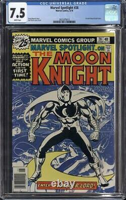 Marvel Spotlight #28 (1976) Cgc 7.5 Vf- 1st Solo Moon Knight White Pages