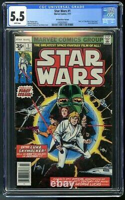 Star Wars #1 35 Cent Price Variant (0.35) CGC 5.5 White Pages (Marvel, 1977)