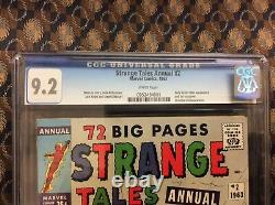 Strange Tales Annual #2 CGC 9.2 NM-With White Page. 4th App Of Spiderman. Rare