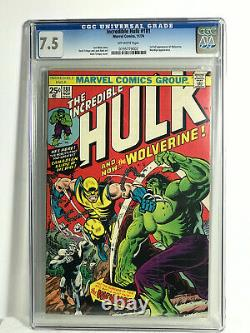 The Incredible Hulk #181 Cgc 7.5 O/white Pages-1st Full App Wolverine-very Hot