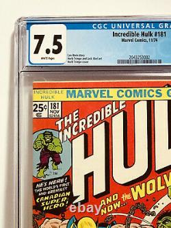 The Incredible Hulk #181 Cgc Vf- 7.5 Beautiful White Pages! 1st Wolverine-hot
