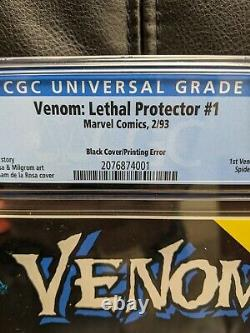 Venom Lethal Protector #1 CGC 9.8 White pages. BLACK COVER Printing Error